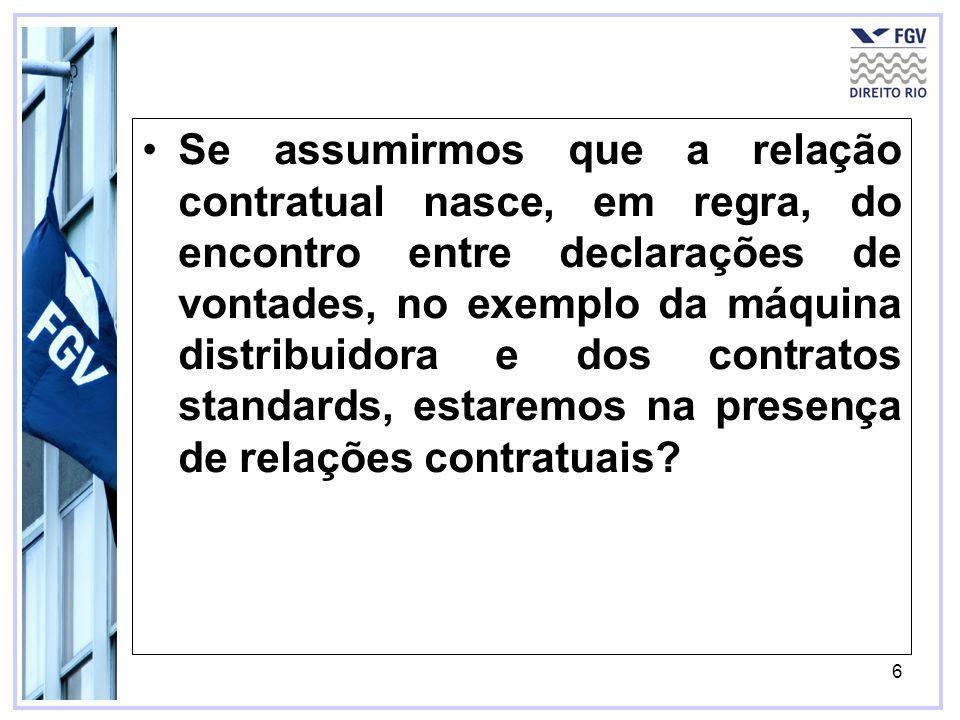 6 Se assumirmos que a relação contratual nasce, em regra, do encontro entre declarações de vontades, no exemplo da máquina distribuidora e dos contrat