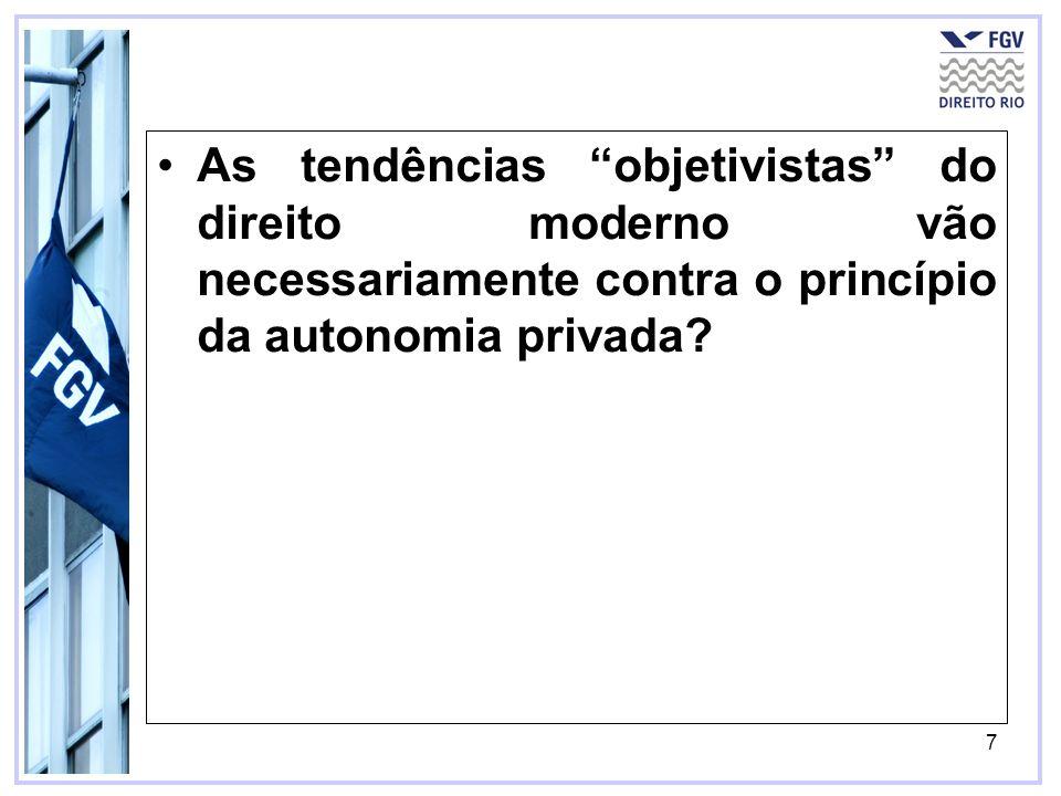 7 As tendências objetivistas do direito moderno vão necessariamente contra o princípio da autonomia privada?