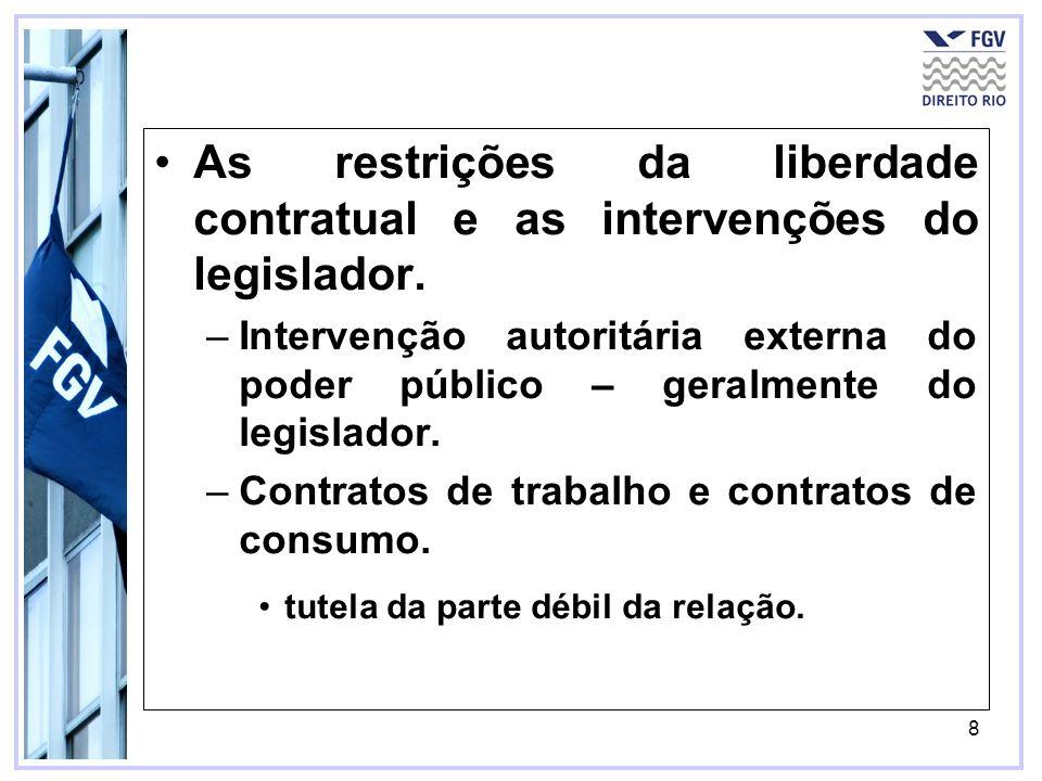 8 As restrições da liberdade contratual e as intervenções do legislador. –Intervenção autoritária externa do poder público – geralmente do legislador.