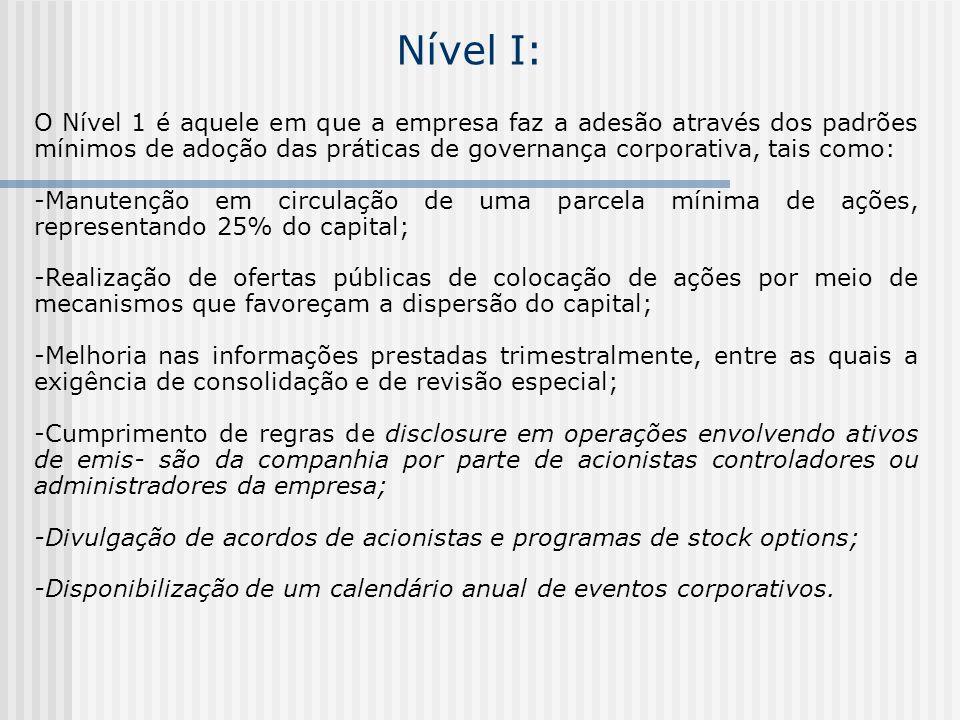Nível I: O Nível 1 é aquele em que a empresa faz a adesão através dos padrões mínimos de adoção das práticas de governança corporativa, tais como: -Ma