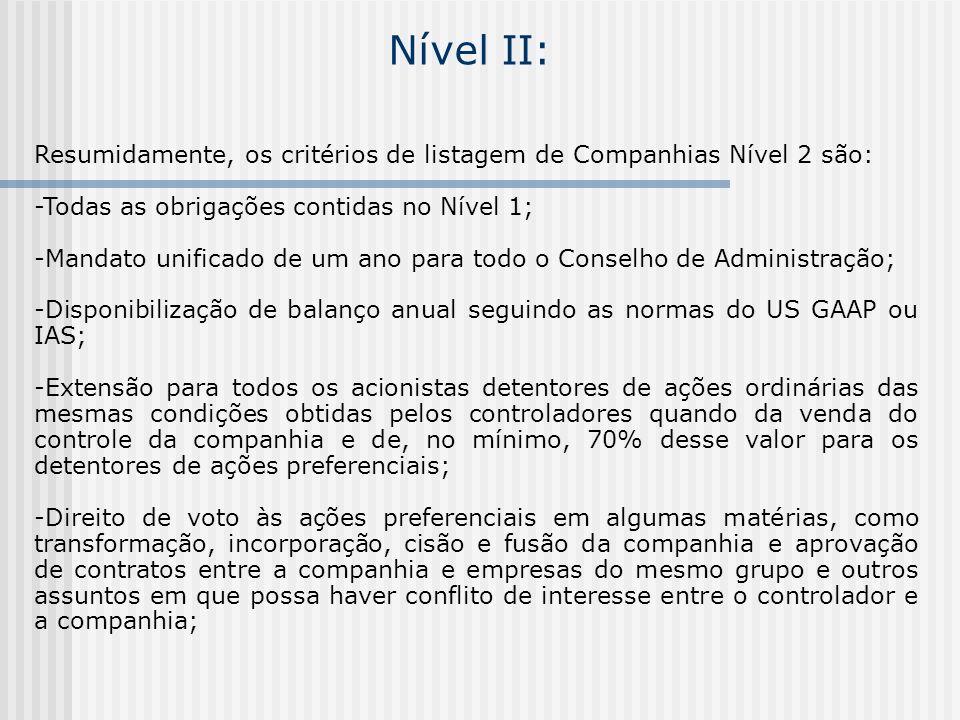 Nível II: Resumidamente, os critérios de listagem de Companhias Nível 2 são: -Todas as obrigações contidas no Nível 1; -Mandato unificado de um ano pa