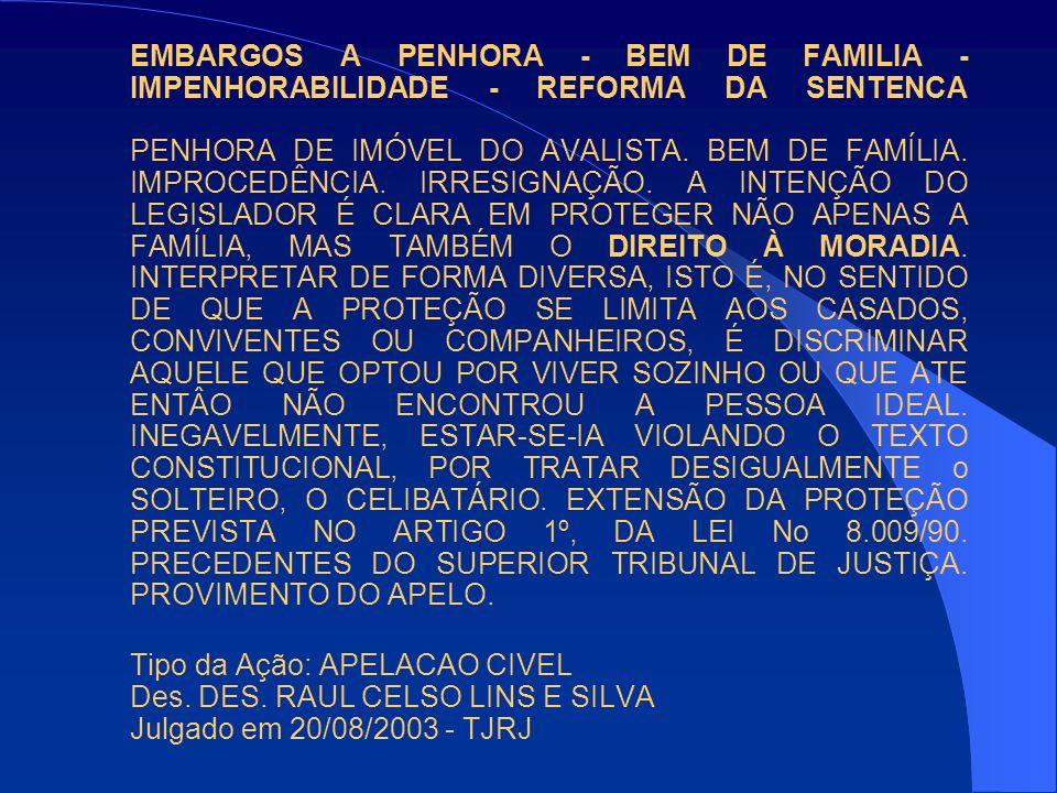 EMBARGOS A PENHORA - BEM DE FAMILIA - IMPENHORABILIDADE - REFORMA DA SENTENCA PENHORA DE IMÓVEL DO AVALISTA. BEM DE FAMÍLIA. IMPROCEDÊNCIA. IRRESIGNAÇ