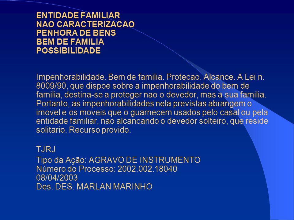 ENTIDADE FAMILIAR NAO CARACTERIZACAO PENHORA DE BENS BEM DE FAMILIA POSSIBILIDADE Impenhorabilidade. Bem de familia. Protecao. Alcance. A Lei n. 8009/