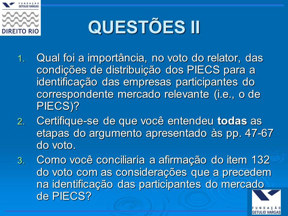 QUESTÕES II 1. Qual foi a importância, no voto do relator, das condições de distribuição dos PIECS para a identificação das empresas participantes do