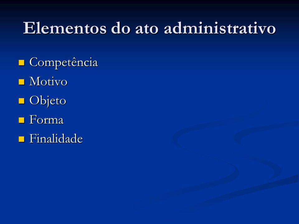 Elementos do ato administrativo Competência Competência Motivo Motivo Objeto Objeto Forma Forma Finalidade Finalidade