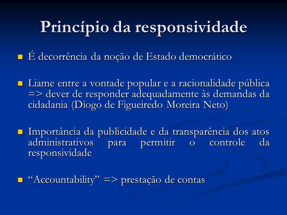 Princípio da responsividade É decorrência da noção de Estado democrático É decorrência da noção de Estado democrático Liame entre a vontade popular e