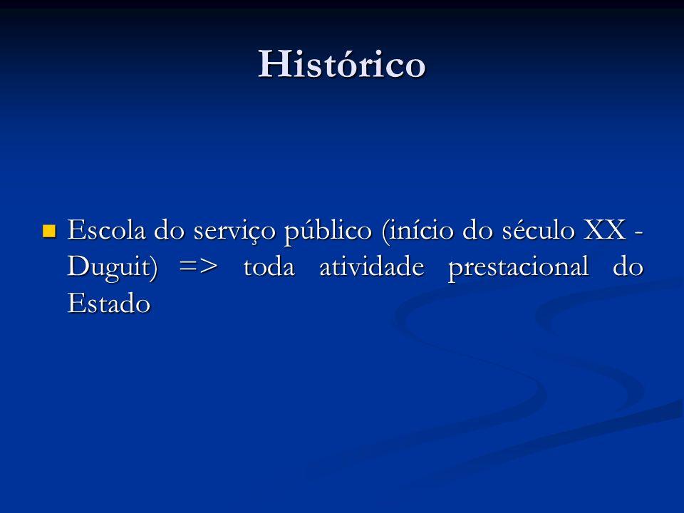 Histórico Escola do serviço público (início do século XX - Duguit) => toda atividade prestacional do Estado Escola do serviço público (início do sécul