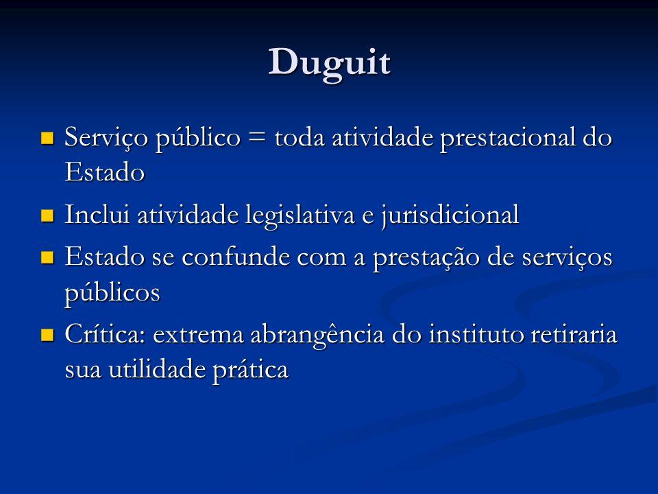 Duguit Serviço público = toda atividade prestacional do Estado Serviço público = toda atividade prestacional do Estado Inclui atividade legislativa e