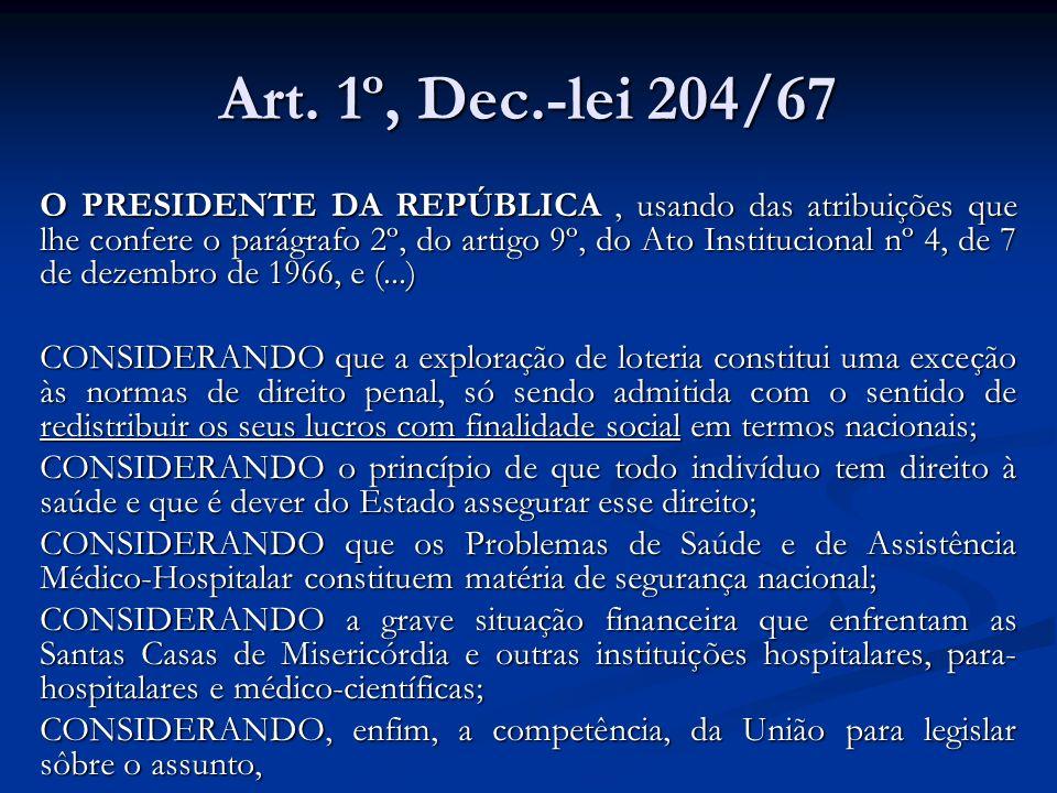 Art. 1º, Dec.-lei 204/67 O PRESIDENTE DA REPÚBLICA, usando das atribuições que lhe confere o parágrafo 2º, do artigo 9º, do Ato Institucional nº 4, de
