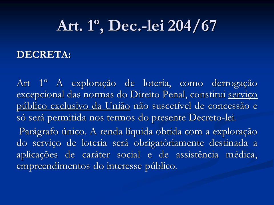 Art. 1º, Dec.-lei 204/67 DECRETA: Art 1º A exploração de loteria, como derrogação excepcional das normas do Direito Penal, constitui serviço público e