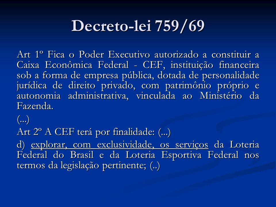 Decreto-lei 759/69 Art 1º Fica o Poder Executivo autorizado a constituir a Caixa Econômica Federal - CEF, instituição financeira sob a forma de empres