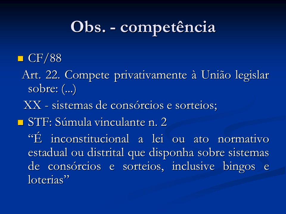 Obs. - competência CF/88 CF/88 Art. 22. Compete privativamente à União legislar sobre: (...) Art. 22. Compete privativamente à União legislar sobre: (