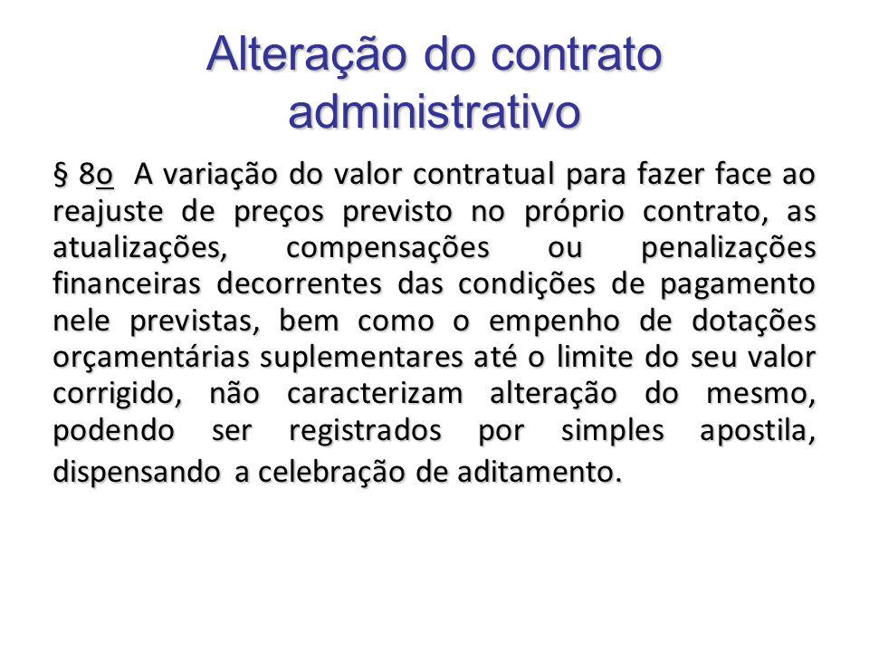 Alteração do contrato administrativo § 8o A variação do valor contratual para fazer face ao reajuste de preços previsto no próprio contrato, as atuali
