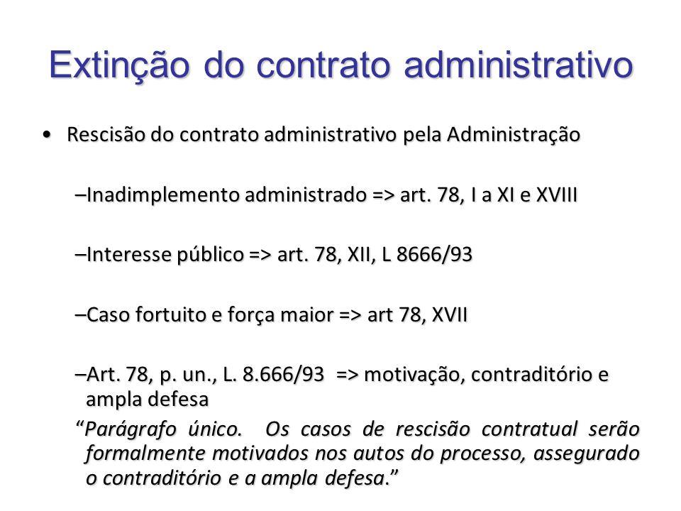Rescisão do contrato administrativo pela AdministraçãoRescisão do contrato administrativo pela Administração –Inadimplemento administrado => art. 78,