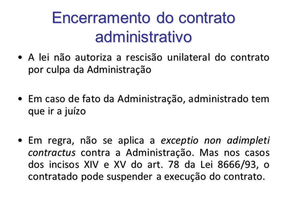 Encerramento do contrato administrativo A lei não autoriza a rescisão unilateral do contrato por culpa da AdministraçãoA lei não autoriza a rescisão u