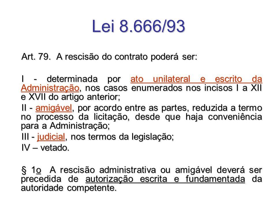 Art. 79. A rescisão do contrato poderá ser: I - determinada por ato unilateral e escrito da Administração, nos casos enumerados nos incisos I a XII e