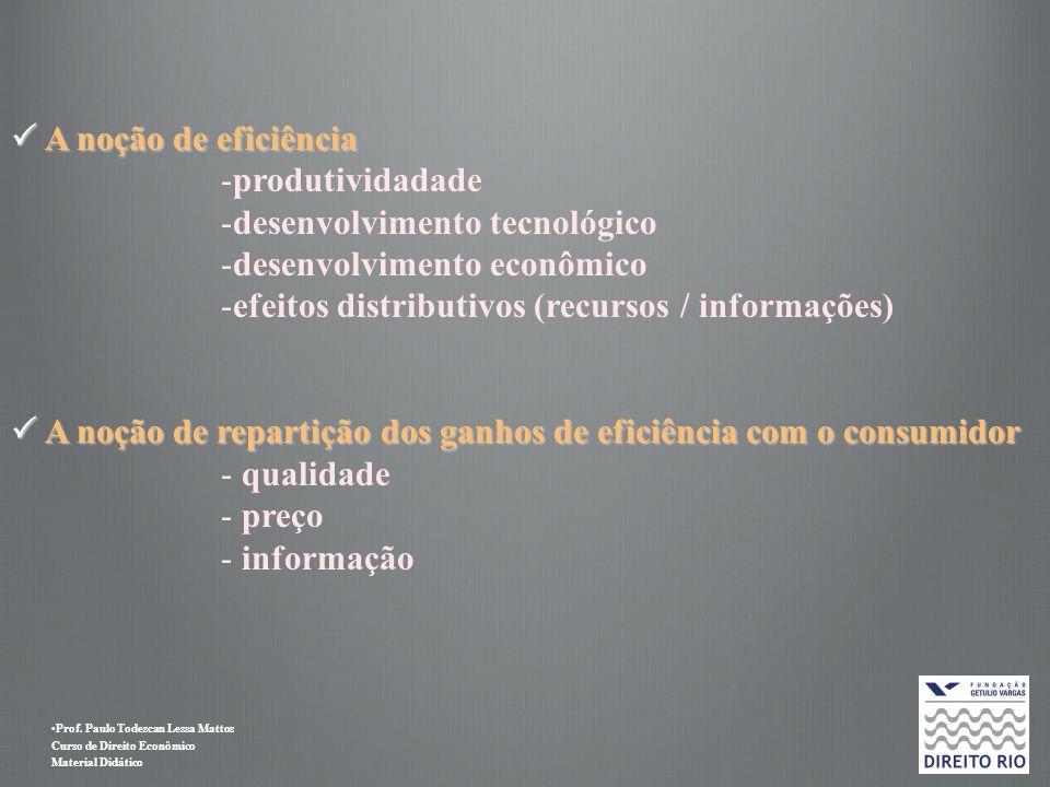 Prof. Paulo Todescan Lessa Mattos Curso de Direito Econômico Material Didático A noção de eficiência A noção de eficiência -produtividadade -desenvolv
