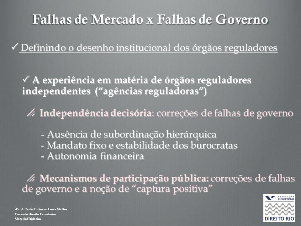 Prof. Paulo Todescan Lessa Mattos Curso de Direito Econômico Material Didático Falhas de Mercado x Falhas de Governo Definindo o desenho institucional