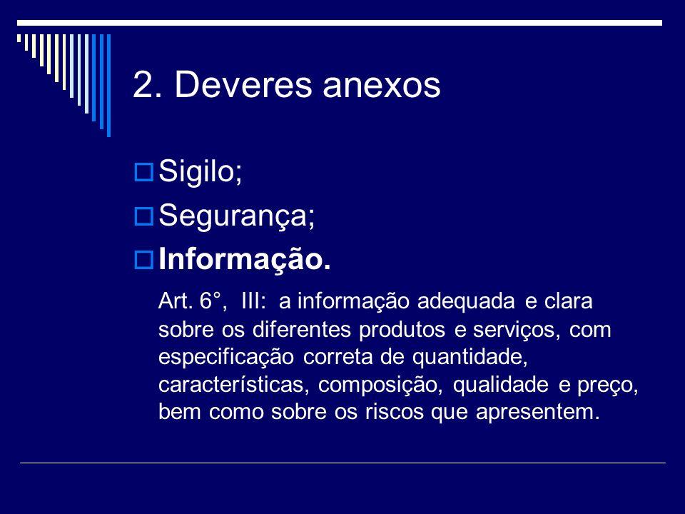 2. Deveres anexos Sigilo; Segurança; Informação. Art. 6°, III: a informação adequada e clara sobre os diferentes produtos e serviços, com especificaçã