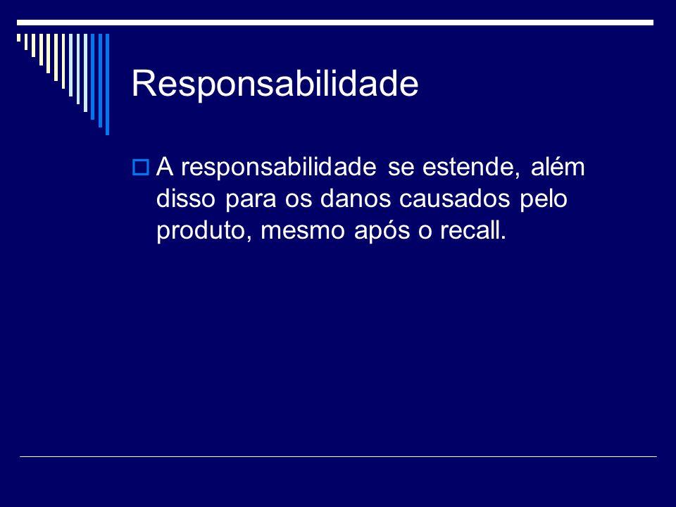 Responsabilidade A responsabilidade se estende, além disso para os danos causados pelo produto, mesmo após o recall.