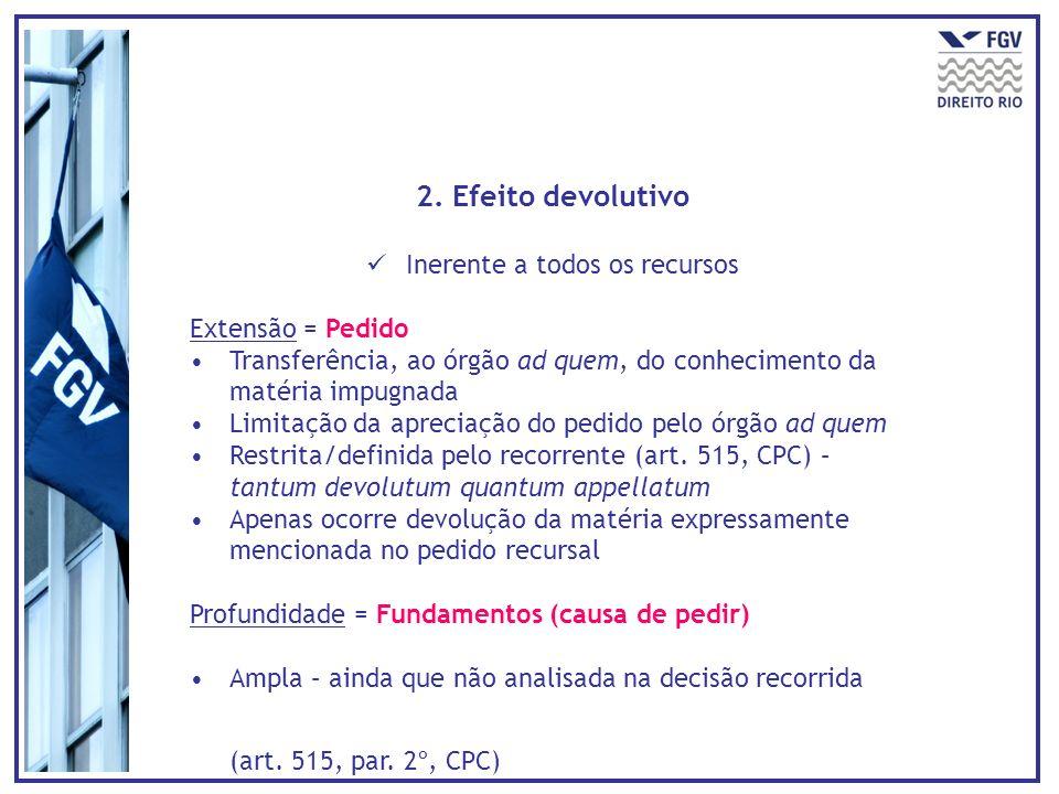2. Efeito devolutivo Inerente a todos os recursos Extensão = Pedido Transferência, ao órgão ad quem, do conhecimento da matéria impugnada Limitação da