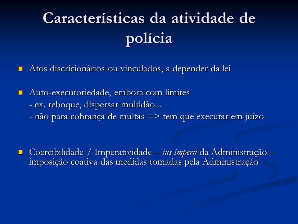 Características da atividade de polícia Atos discricionários ou vinculados, a depender da lei Atos discricionários ou vinculados, a depender da lei Au