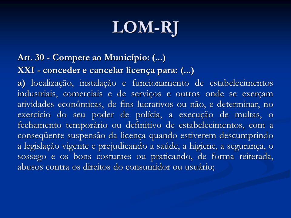 LOM-RJ Art. 30 - Compete ao Município: (...) XXI - conceder e cancelar licença para: (...) a) localização, instalação e funcionamento de estabelecimen