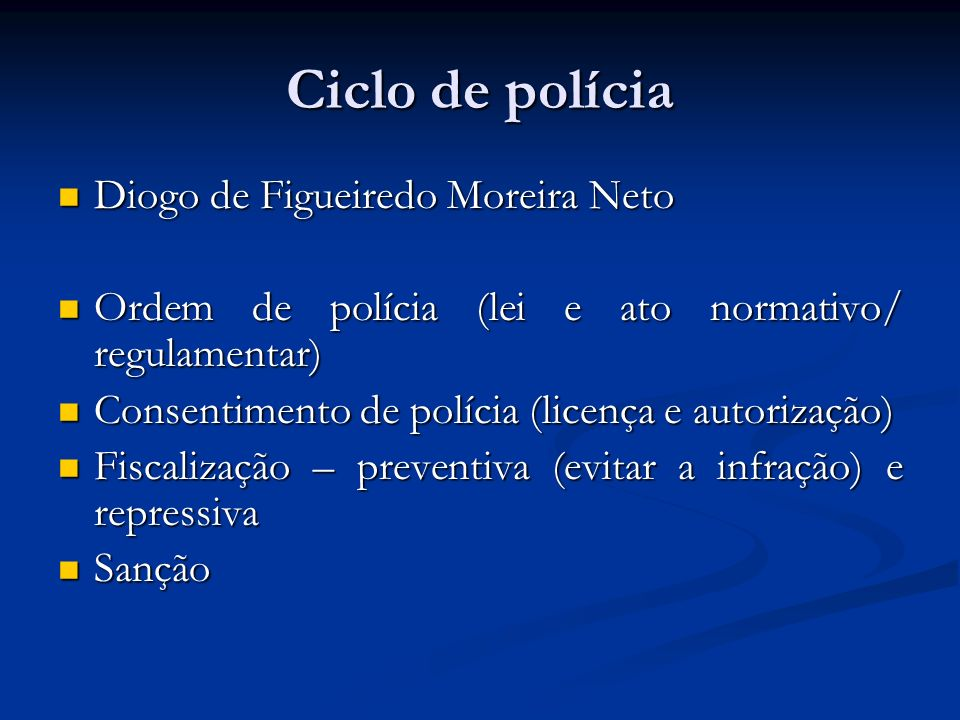 Características da atividade de polícia Atos discricionários ou vinculados, a depender da lei Atos discricionários ou vinculados, a depender da lei Auto-executoriedade, embora com limites Auto-executoriedade, embora com limites - ex.