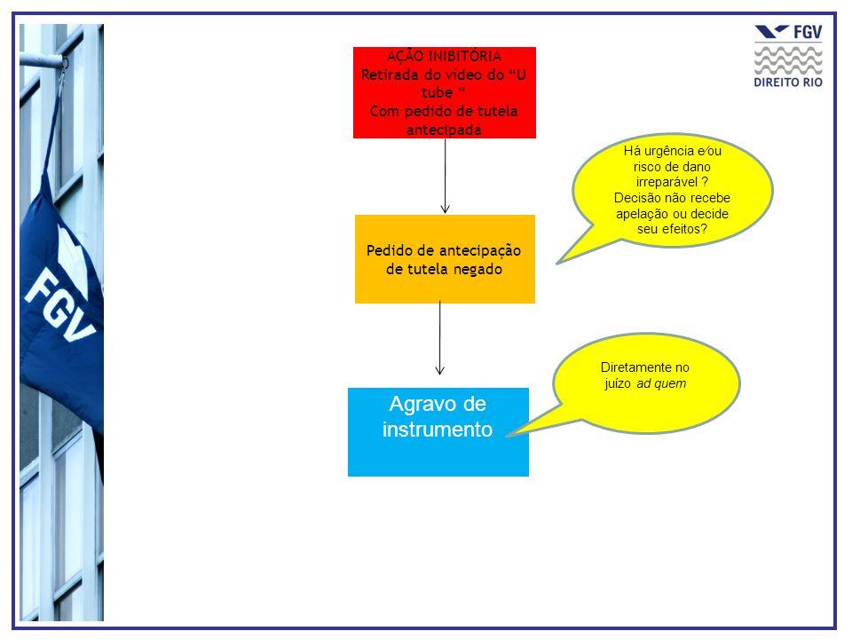 AÇÃO INIBITÓRIA Retirada do vídeo do U tube Com pedido de tutela antecipada Pedido de antecipação de tutela negado Agravo de instrumento Há urgência e