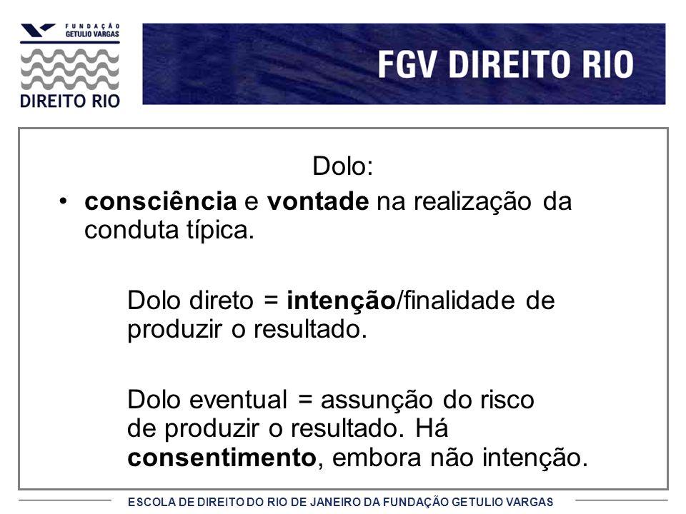 ESCOLA DE DIREITO DO RIO DE JANEIRO DA FUNDAÇÃO GETULIO VARGAS Dolo: consciência e vontade na realização da conduta típica.