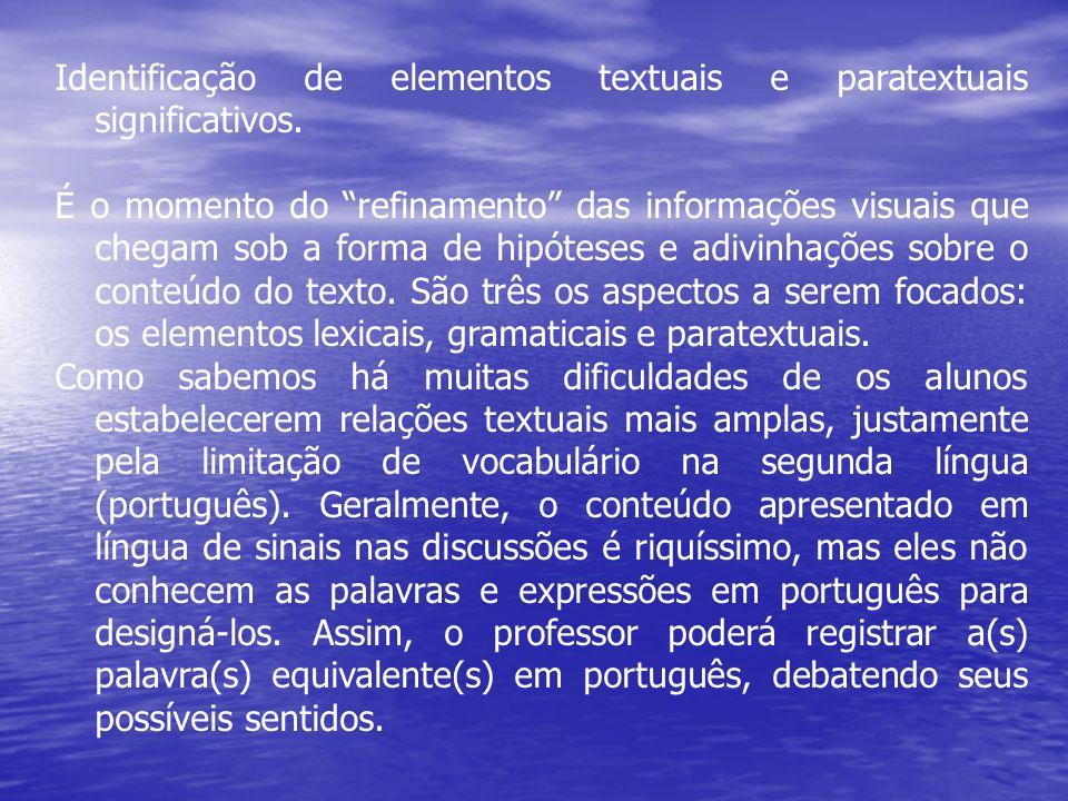 Identificação de elementos textuais e paratextuais significativos. É o momento do refinamento das informações visuais que chegam sob a forma de hipóte