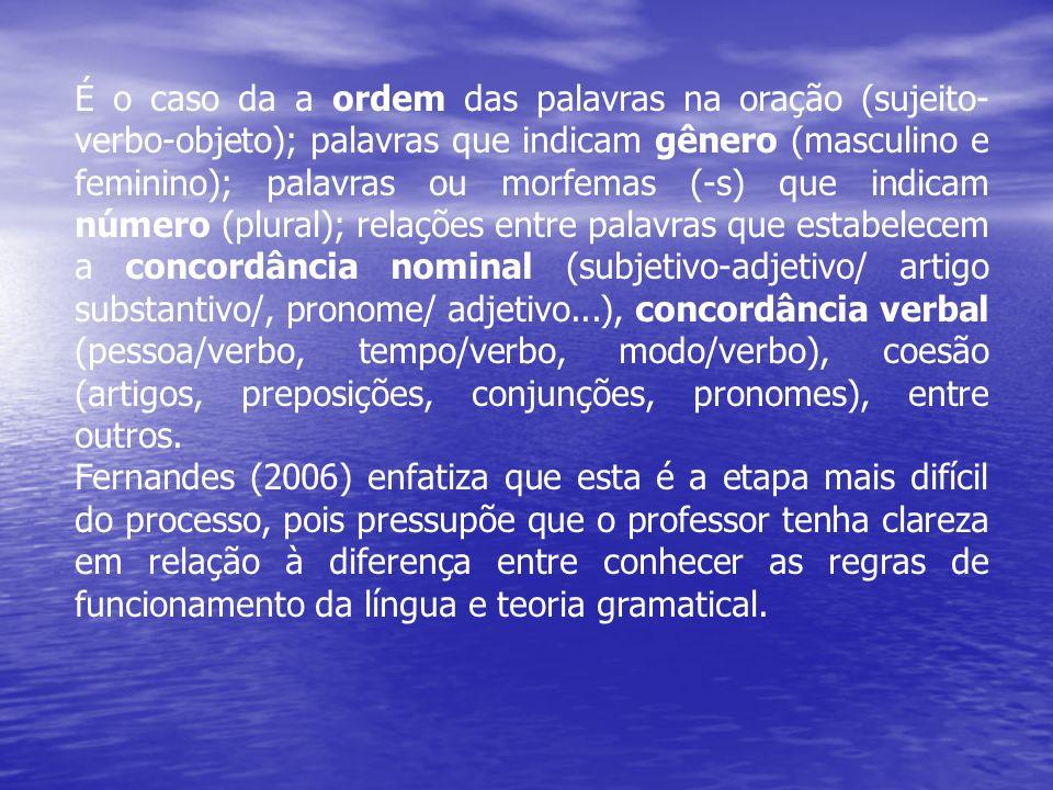 É o caso da a ordem das palavras na oração (sujeito- verbo-objeto); palavras que indicam gênero (masculino e feminino); palavras ou morfemas (-s) que