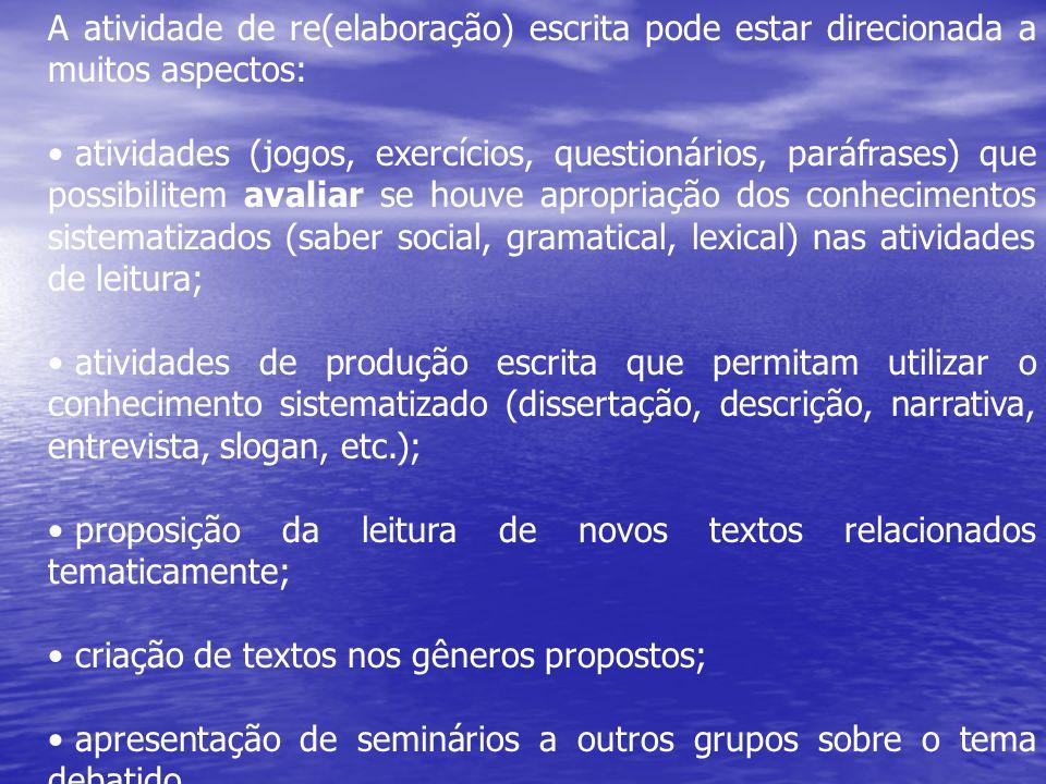 A atividade de re(elaboração) escrita pode estar direcionada a muitos aspectos: atividades (jogos, exercícios, questionários, paráfrases) que possibil