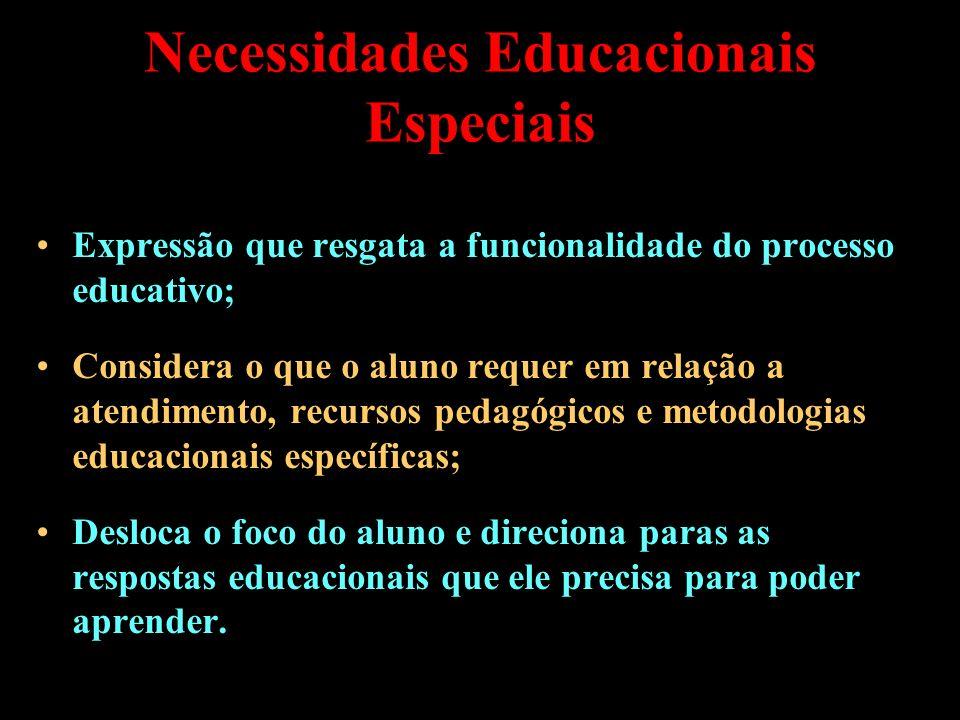 Necessidades Educacionais Especiais Expressão que resgata a funcionalidade do processo educativo; Considera o que o aluno requer em relação a atendime