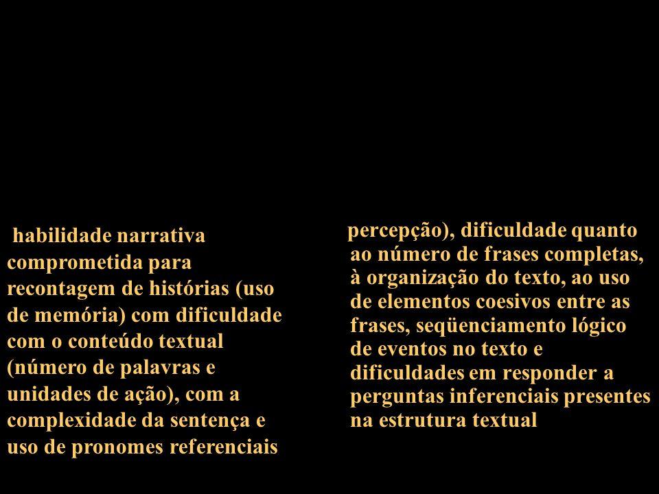 percepção), dificuldade quanto ao número de frases completas, à organização do texto, ao uso de elementos coesivos entre as frases, seqüenciamento lóg