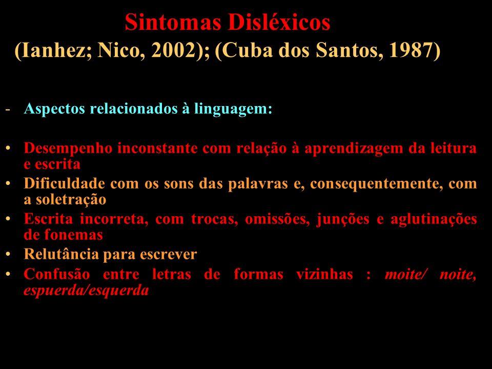 Sintomas Disléxicos (Ianhez; Nico, 2002); (Cuba dos Santos, 1987) -Aspectos relacionados à linguagem: Desempenho inconstante com relação à aprendizage