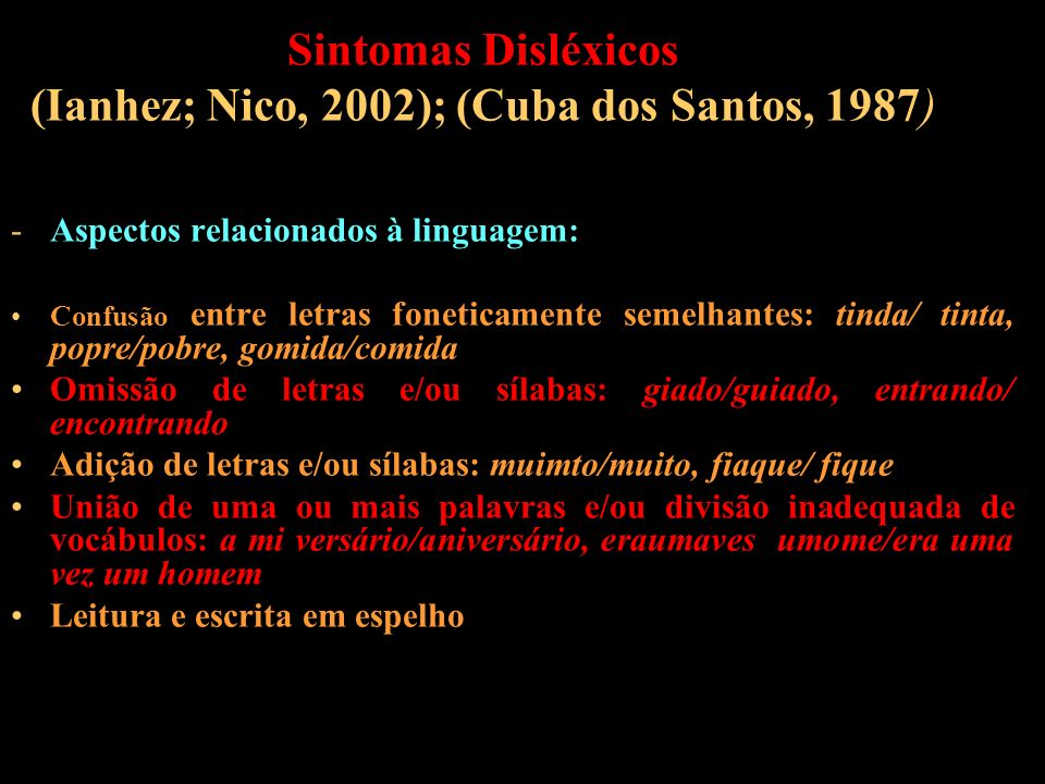 Sintomas Disléxicos (Ianhez; Nico, 2002); (Cuba dos Santos, 1987) -Aspectos relacionados à linguagem: Confusão entre letras foneticamente semelhantes: