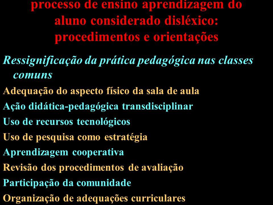 Formas de intervenção pedagógica no processo de ensino aprendizagem do aluno considerado disléxico: procedimentos e orientações Ressignificação da prá