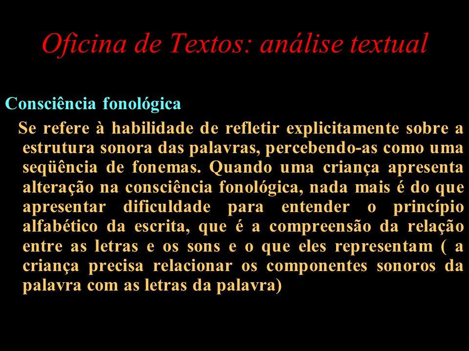 Oficina de Textos: análise textual Consciência fonológica Se refere à habilidade de refletir explicitamente sobre a estrutura sonora das palavras, per