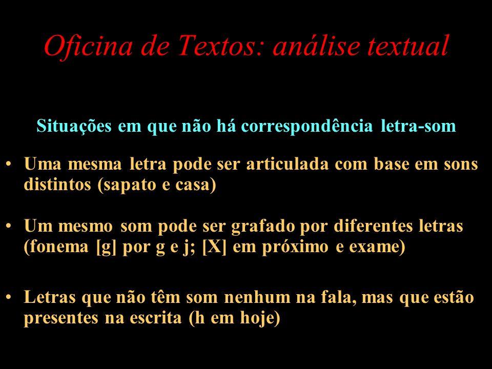 Oficina de Textos: análise textual Situações em que não há correspondência letra-som Uma mesma letra pode ser articulada com base em sons distintos (s