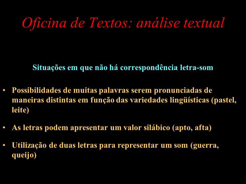 Oficina de Textos: análise textual Situações em que não há correspondência letra-som Possibilidades de muitas palavras serem pronunciadas de maneiras