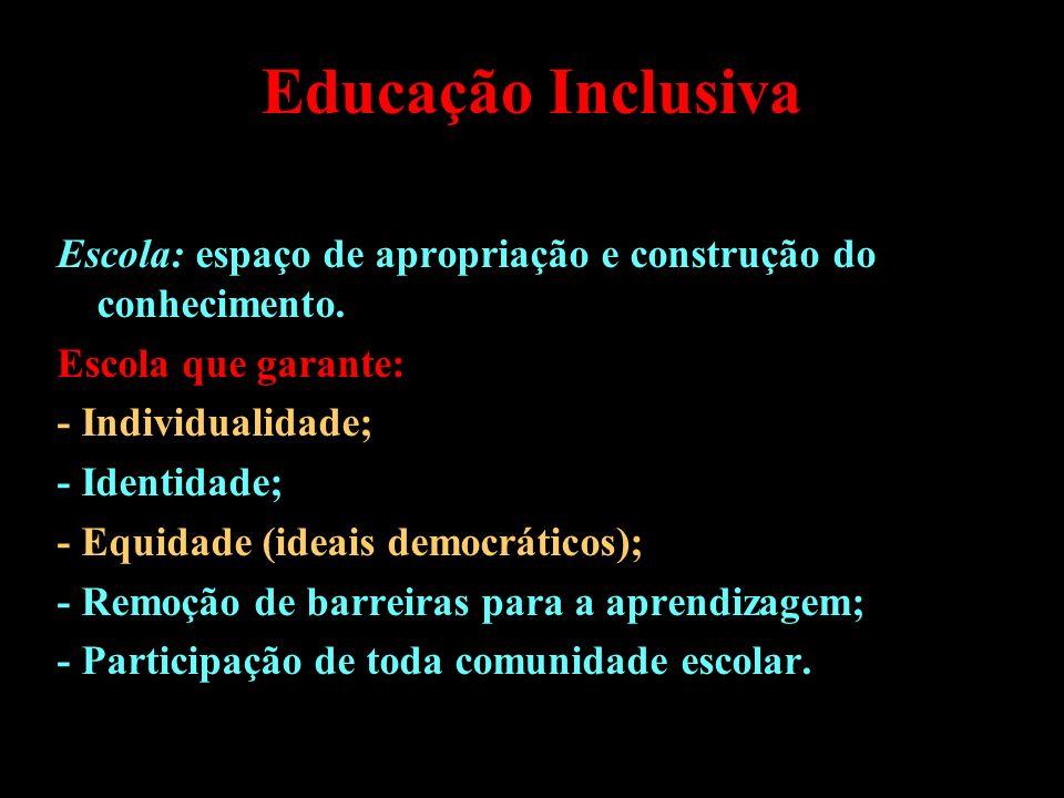 Educação Inclusiva Escola: espaço de apropriação e construção do conhecimento. Escola que garante: - Individualidade; - Identidade; - Equidade (ideais