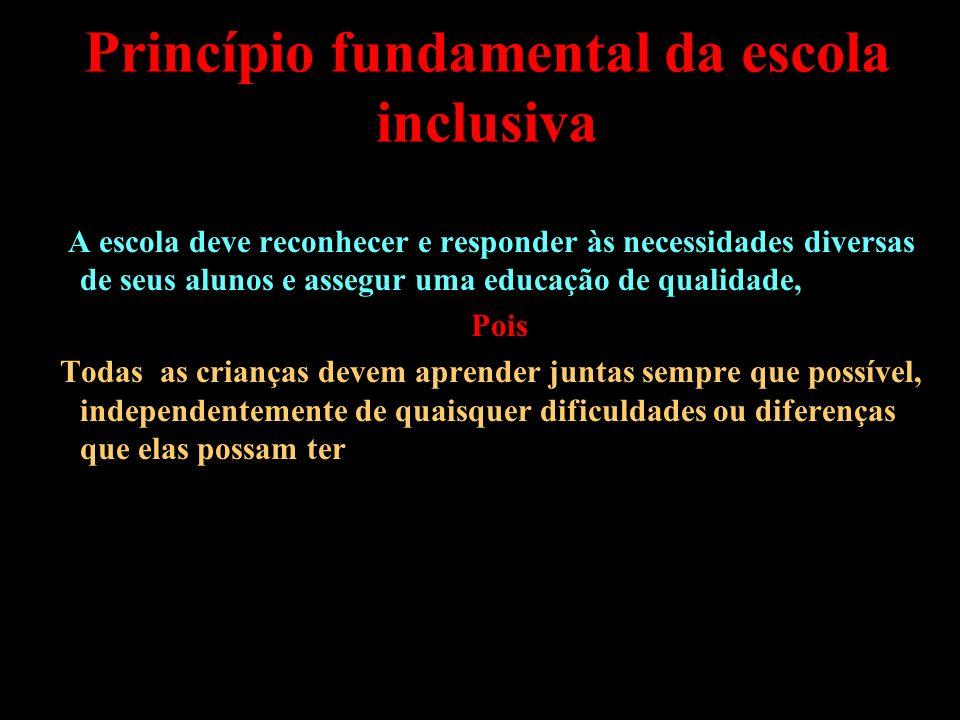 Educação inclusiva Promoção de igualdade de acesso à escola por grupos minoritários Alunos com NEE Assegurar uma educação efetiva Oferecer suporte pedagógico Construir rede de solidariedade