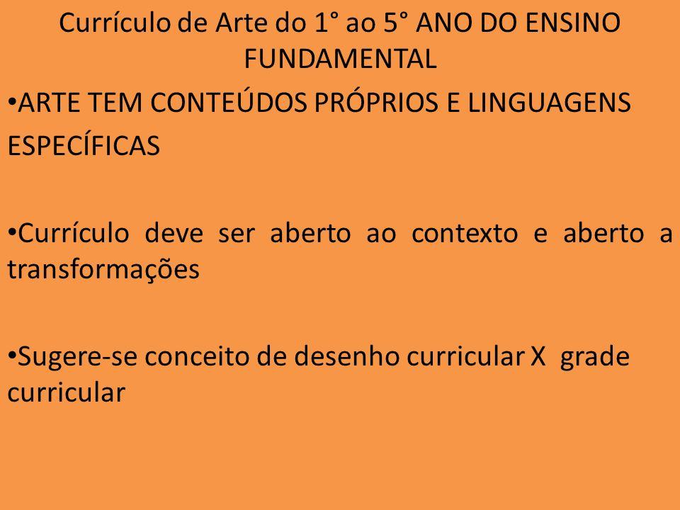 Currículo de Arte do 1° ao 5° ANO DO ENSINO FUNDAMENTAL ARTE TEM CONTEÚDOS PRÓPRIOS E LINGUAGENS ESPECÍFICAS Currículo deve ser aberto ao contexto e a