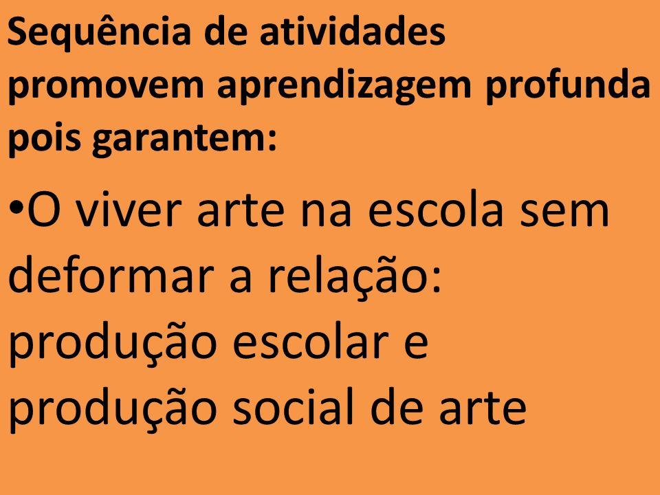 Sequência de atividades promovem aprendizagem profunda pois garantem: O viver arte na escola sem deformar a relação: produção escolar e produção socia