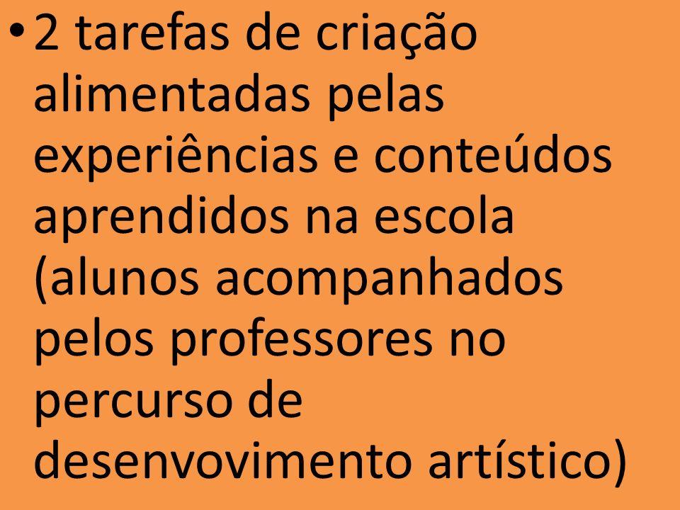 2 tarefas de criação alimentadas pelas experiências e conteúdos aprendidos na escola (alunos acompanhados pelos professores no percurso de desenvovime