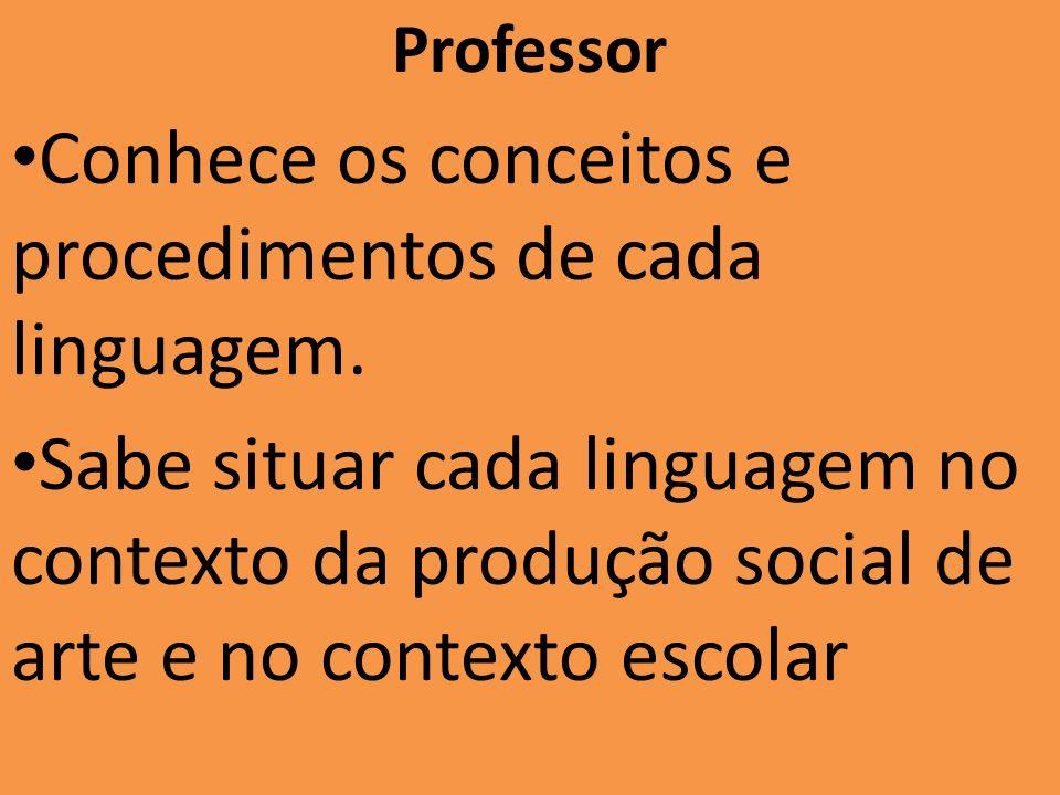 Professor Conhece os conceitos e procedimentos de cada linguagem. Sabe situar cada linguagem no contexto da produção social de arte e no contexto esco