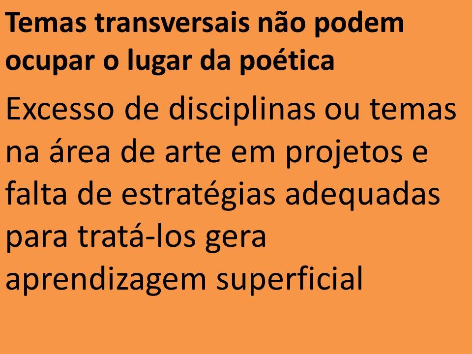 Temas transversais não podem ocupar o lugar da poética Excesso de disciplinas ou temas na área de arte em projetos e falta de estratégias adequadas pa