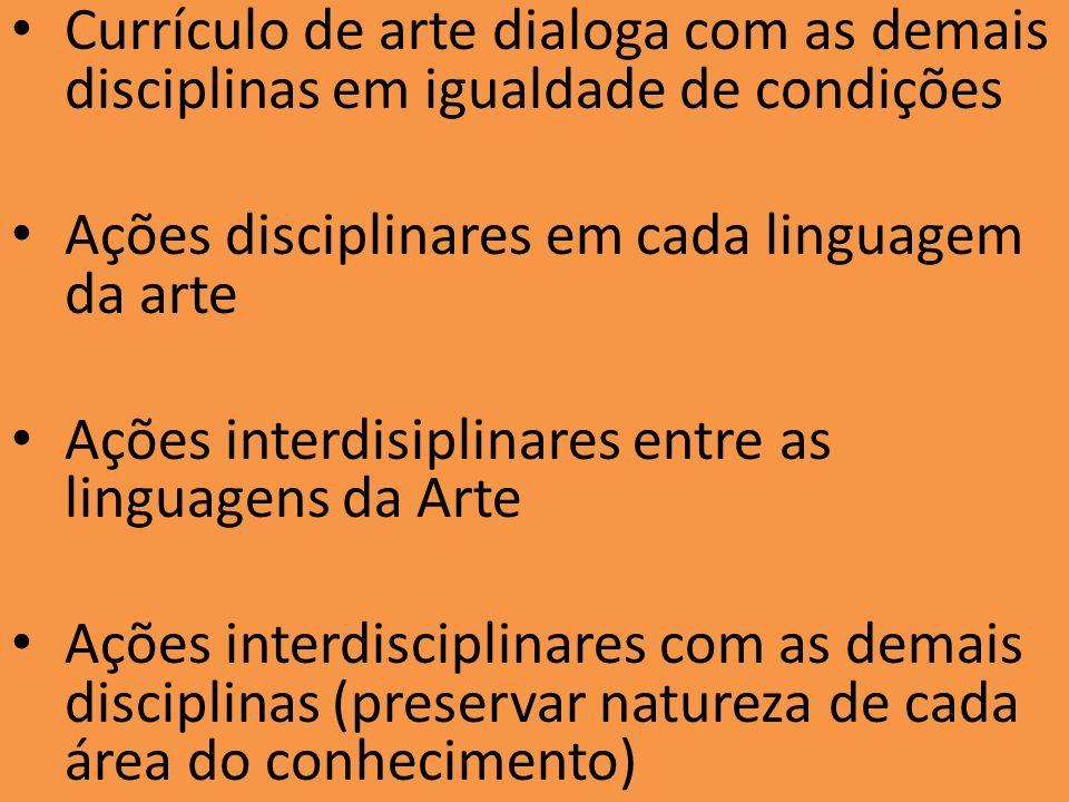 Currículo de arte dialoga com as demais disciplinas em igualdade de condições Ações disciplinares em cada linguagem da arte Ações interdisiplinares en