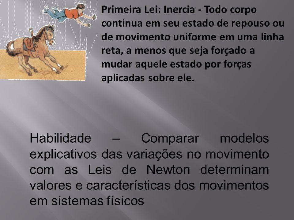 Primeira Lei: Inercia - Todo corpo continua em seu estado de repouso ou de movimento uniforme em uma linha reta, a menos que seja forçado a mudar aque